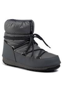 Szare śniegowce Moon Boot na zimę, z cholewką
