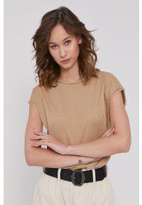 medicine - Medicine - T-shirt Basic. Kolor: beżowy. Materiał: bawełna, dzianina. Wzór: haft