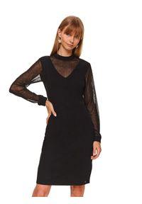 Czarna sukienka TOP SECRET w koronkowe wzory, koszulowa