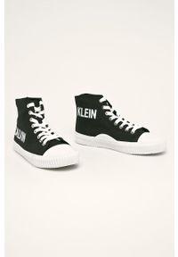 Czarne tenisówki Calvin Klein Jeans na średnim obcasie, na obcasie, na sznurówki #4