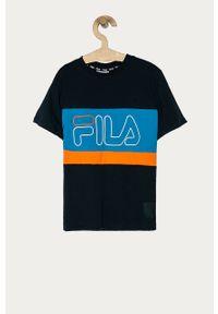 Niebieski t-shirt Fila na co dzień, z nadrukiem