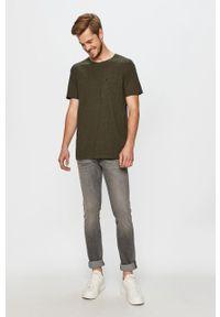 Zielony t-shirt Lee na co dzień, casualowy, z okrągłym kołnierzem