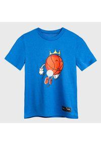 TARMAK - Koszulka Do Koszykówki Ts500 Dla Dzieci Flying Bal. Kolor: niebieski. Materiał: poliester, materiał. Sport: koszykówka