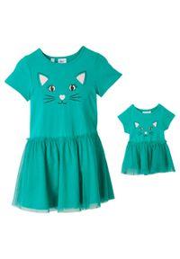 Sukienka dziewczęca + sukienka dla lalki (2 części) bonprix szmaragdowy. Kolor: zielony