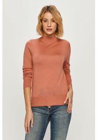 Pomarańczowy sweter TOMMY HILFIGER casualowy, długi, na co dzień, z długim rękawem