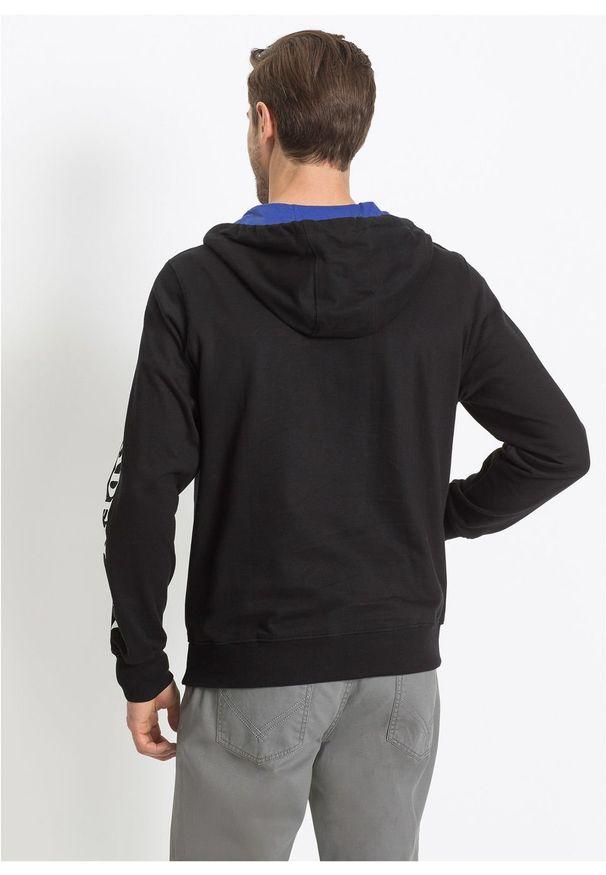 Czarna bluza bonprix z aplikacjami, z kapturem