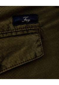 FAY - Zielone spodnie chino. Kolor: zielony. Materiał: materiał, bawełna. Długość: długie. Wzór: aplikacja