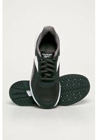 Szare buty sportowe Reebok na sznurówki, na obcasie, z cholewką
