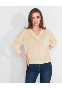 CAPPELLINI - Żóty sweter z lnem. Kolor: żółty. Materiał: len. Styl: sportowy