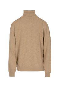 Beżowy sweter VEVA elegancki, z golfem, na co dzień