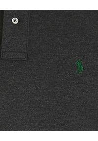 Ralph Lauren - RALPH LAUREN - Szara koszulka polo z logo Slim Fit. Typ kołnierza: polo. Kolor: szary. Materiał: bawełna. Wzór: haft. Sezon: lato. Styl: klasyczny