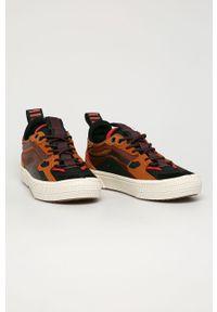 Brązowe sneakersy Vans na sznurówki, z okrągłym noskiem, z cholewką