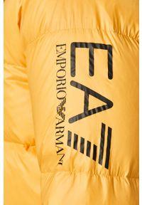 Żółta kurtka EA7 Emporio Armani z kapturem, na co dzień, casualowa