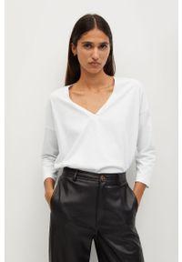 Biała bluzka z długim rękawem mango casualowa, na co dzień