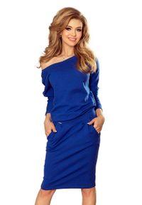 Niebieska sukienka dzianinowa Numoco z dekoltem na plecach, na co dzień, casualowa