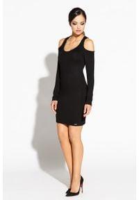Dursi - Czarna Ołówkowa Sukienka z Wyciętymi Ramionami. Kolor: czarny. Materiał: wiskoza, elastan, poliamid. Typ sukienki: ołówkowe