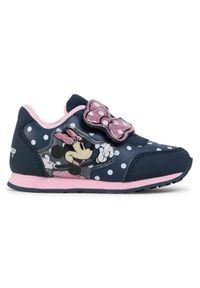 Niebieskie półbuty Minnie Mouse na rzepy, z cholewką