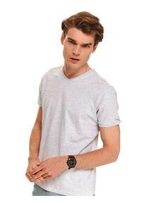 Szary t-shirt TOP SECRET z krótkim rękawem, krótki, z dekoltem w serek, na jesień
