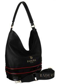 Shopper damski czarno-czerwony Badura T_D222CZ/CR_CD. Kolor: czarny, czerwony, wielokolorowy. Materiał: skórzane