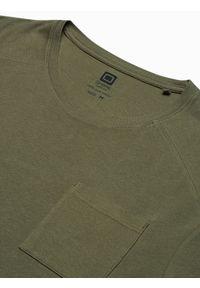 Ombre Clothing - T-shirt męski bawełniany S1386 - oliwkowy - XXL. Kolor: oliwkowy. Materiał: bawełna