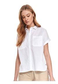 Biała koszula TOP SECRET z krótkim rękawem, w paski, krótka