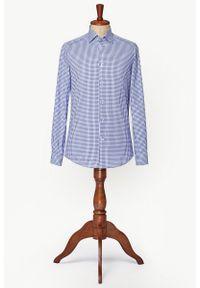 Niebieska koszula Lancerto vintage, na lato, w kratkę, z włoskim kołnierzykiem