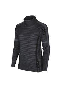Koszulka damska treningowa Nike Pro Hyperwarm CU7004. Typ kołnierza: kołnierzyk stójkowy. Materiał: skóra, materiał, poliester. Długość rękawa: długi rękaw. Długość: długie. Sport: fitness