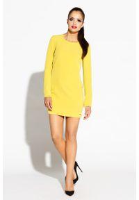 Żółta sukienka Dursi prosta, z długim rękawem