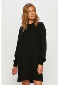 Czarna sukienka Noisy may mini, casualowa, z długim rękawem, z okrągłym kołnierzem