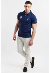 Niebieska koszulka polo Edward Orlovski z krótkim rękawem, sportowa, z aplikacjami, polo