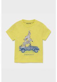 Żółty t-shirt Mayoral z nadrukiem, casualowy, na co dzień