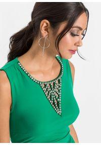 Zielona sukienka bonprix z aplikacjami, maxi, wizytowa