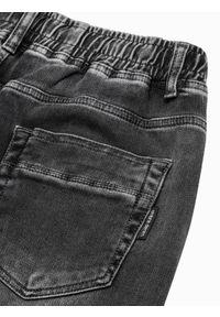 Ombre Clothing - Spodnie męskie joggery P1057 - grafitowe - XXL. Kolor: szary. Materiał: elastan, bawełna, jeans
