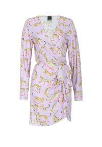 Sukienka mini Pinko z długim rękawem, z kopertowym dekoltem, na lato