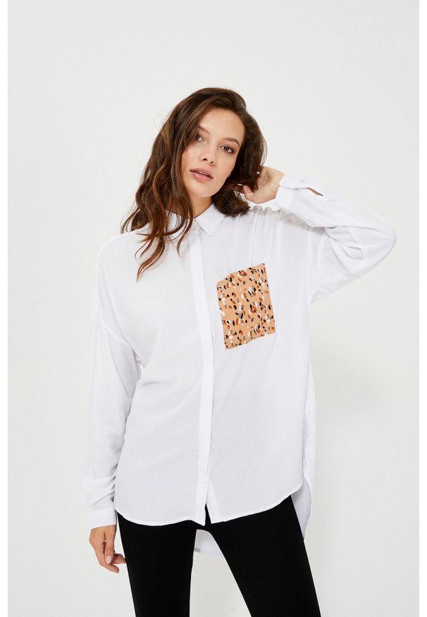 Biała koszula MOODO długa, z długim rękawem