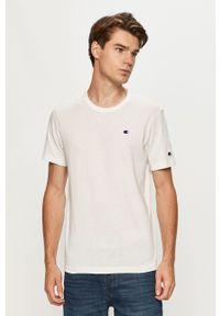 Champion - T-shirt. Okazja: na co dzień. Kolor: biały. Materiał: dzianina. Wzór: aplikacja. Styl: casual