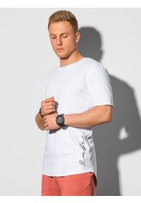 Ombre Clothing - T-shirt męski bawełniany z nadrukiem S1387 - biały - XXL. Kolor: biały. Materiał: bawełna. Wzór: nadruk