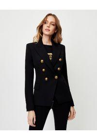 Balmain - BALMAIN - Wełniana marynarka ze złotymi guzikami. Kolor: czarny. Materiał: wełna. Wzór: aplikacja. Styl: elegancki