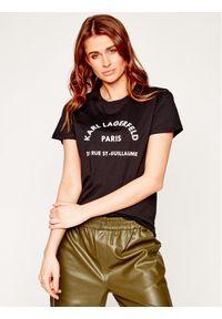 Czarny t-shirt Karl Lagerfeld z dekoltem karo
