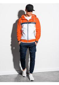 Pomarańczowa kurtka Ombre Clothing z nadrukiem, na wiosnę