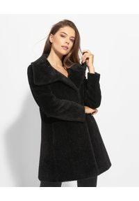 CINZIA ROCCA - Czarny płaszcz z wełny alpaki. Kolor: czarny. Materiał: wełna