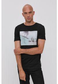 Tom Tailor - T-shirt bawełniany. Okazja: na co dzień. Kolor: czarny. Materiał: bawełna. Wzór: nadruk. Styl: casual