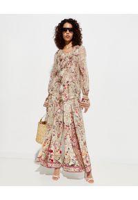 Camilla - CAMILLA - Jedwabna koszula z wiązaniem. Okazja: na co dzień. Kolor: beżowy. Materiał: jedwab. Wzór: motyw zwierzęcy, aplikacja. Styl: elegancki, casual