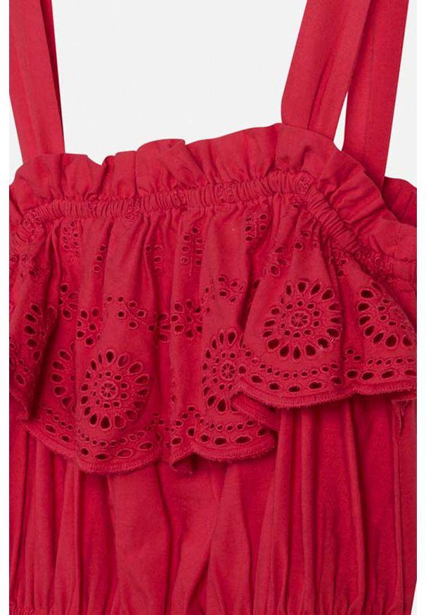 Różowa sukienka Mayoral mini, rozkloszowana, z okrągłym kołnierzem, na ramiączkach