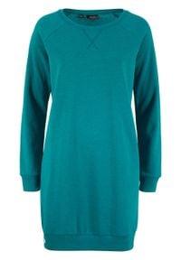 Sukienka dresowa z rękawami raglanowymi bonprix kobaltowo-turkusowy. Kolor: niebieski. Materiał: dresówka. Długość rękawa: raglanowy rękaw. Wzór: prążki