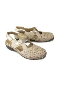 Szare sandały Rieker na rzepy, w ażurowe wzory