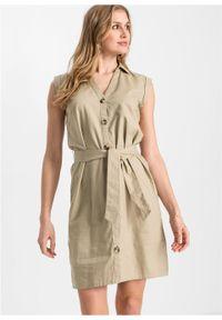 Sukienka lniana bonprix beżowy. Kolor: beżowy. Materiał: len #3