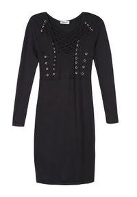 Czarna sukienka TROLL z dekoltem w serek, elegancka, w kolorowe wzory #7