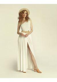 Madnezz - Sukienka Erin Wild 2.0 - ecru. Materiał: wiskoza, elastan. Typ sukienki: asymetryczne