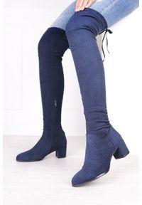 Niebieskie kozaki Sergio Leone z cholewką, z cholewką za kolano